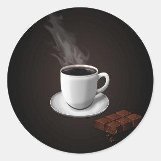 Azúcar diario abstracto del chocolate pegatina redonda