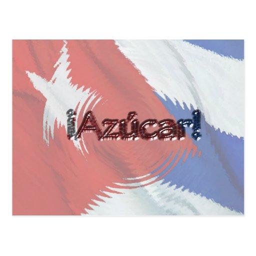 ¡Azucar! en bandera cubana Postales