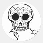 Azúcar Skull Día de los Muertos Pegatina Redonda