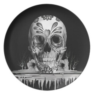 Azúcar tirado, cráneo de fusión del azúcar plato de cena