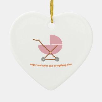 Azúcar y especia adorno navideño de cerámica en forma de corazón
