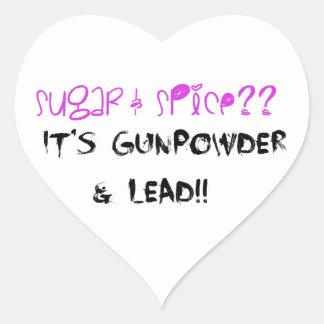 ¿Azúcar y especia? ¡Es pólvora y ventaja!! Pegatina En Forma De Corazón