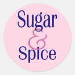Azúcar y especia etiquetas redondas