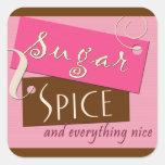 Azúcar y especia y todo agradables calcomanía cuadradas