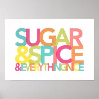 Azúcar y especia y todo Niza impresión o poste Póster