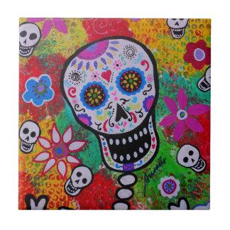Azucare a Skull Dia de Los Muertos Tiles por los p Azulejo Cuadrado Pequeño