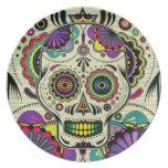 Azucare el arte del cráneo/el día de la placa muer plato