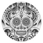 """Azucare el arte """"día del cráneo"""" de la placa muert platos para fiestas"""