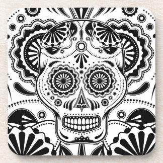 """Azucare el arte """"día del cráneo"""" de los prácticos  posavasos de bebida"""