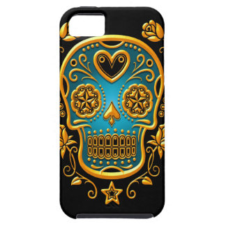 Azucare el cráneo con los rosas, el amarillo y el  iPhone 5 Case-Mate funda