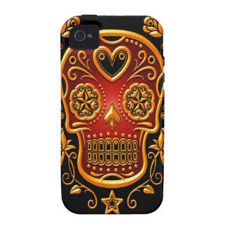 Azucare el cráneo con los rosas, el amarillo y el  Case-Mate iPhone 4 carcasa