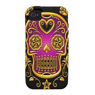 Azucare el cráneo con los rosas, el amarillo y la  vibe iPhone 4 funda