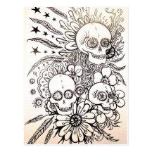 azucare el día del cráneo de arte muerto de la pos tarjetas postales
