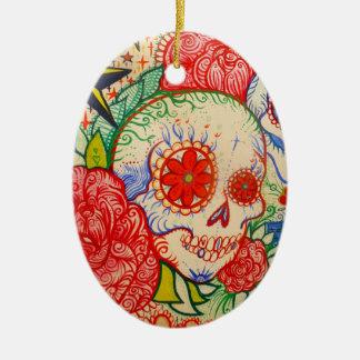 azucare el día del cráneo de decoración muerta del adorno ovalado de cerámica