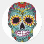 Azucare el día del cráneo de los muertos con los etiquetas redondas