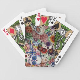 azucare el día del cráneo de los naipes muertos de cartas de juego
