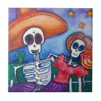 azucare el día del cráneo del arte mexicano muerto azulejo cuadrado pequeño