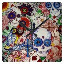 azucare el día del cráneo del reloj muerto del art