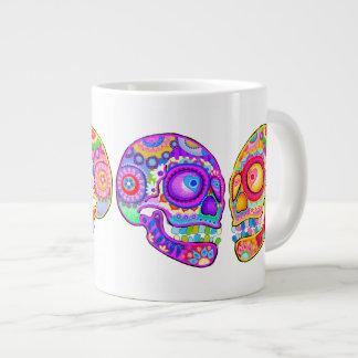 Azucare la taza enorme de los cráneos - arte marav taza extra grande