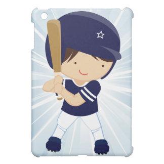 Azufaifas del muchacho del béisbol en azul y blanc