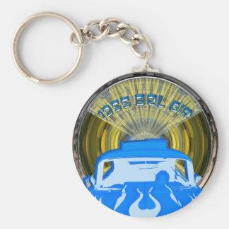 Azul 1955 del Bel Air del arte pop Llavero Redondo Tipo Pin