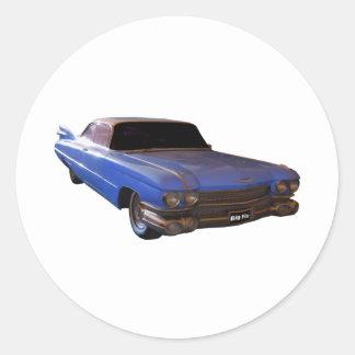 Azul 1959 de Cadillac Pegatina Redonda
