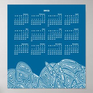 Azul 2013 del calendario de la ráfaga póster