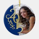 Azul 2015 y oro de la foto de la graduación de la adorno navideño redondo de cerámica
