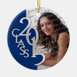Azul 2015 y plata de la foto de la graduación de adorno de reyes