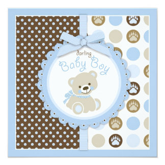 """Azul 2 de la fiesta de bienvenida al bebé del invitación 5.25"""" x 5.25"""""""