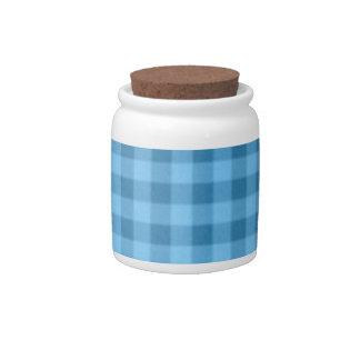 Azul a cuadros platos para caramelos