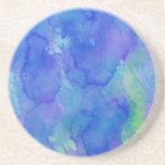 Azul abstracto de la acuarela, esmeralda, verde, v posavasos personalizados