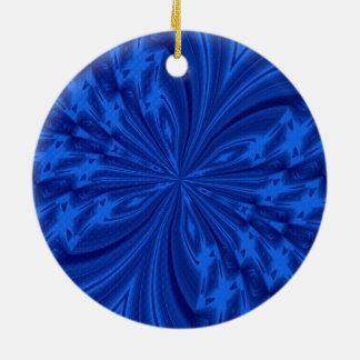 Azul abstracto de la mariposa adorno redondo de cerámica