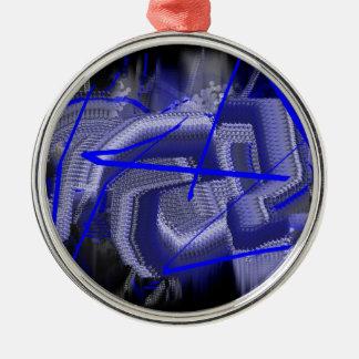 Azul abstracto adorno redondo plateado