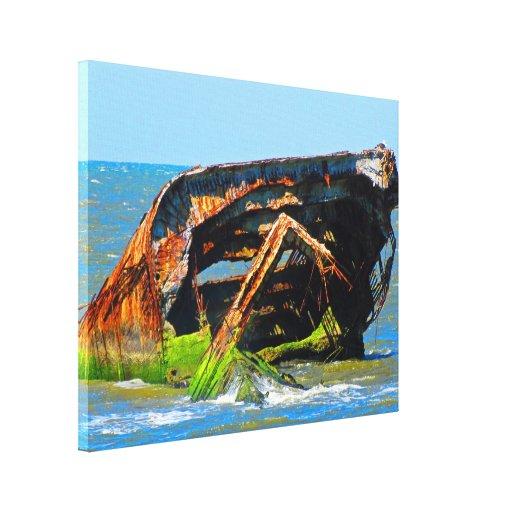 Azul abstracto del naufragio impresiones en lienzo estiradas