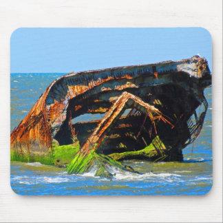 Azul abstracto del naufragio tapetes de ratones