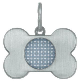 Azul abstracto elegante del diamante placa de nombre de mascota