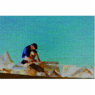 azul acolchado hombre de la pesca esculturas fotograficas