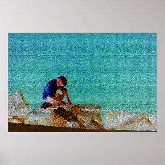 azul acolchado hombre de la pesca póster