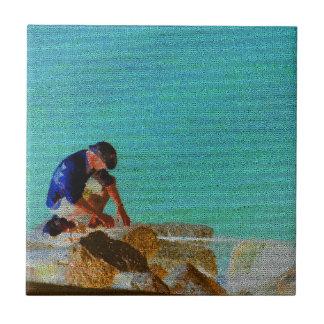 azul acolchado hombre de la pesca tejas