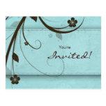 Azul acuoso de la invitación floral de la postal d
