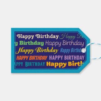 Azul adaptable del feliz cumpleaños confinado etiquetas para regalos
