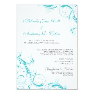 """Azul afiligranado Curaçao del remolino Invitación 5"""" X 7"""""""