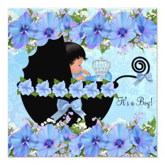 """Azul afroamericano del muchacho del príncipe invitación 5.25"""" x 5.25"""""""