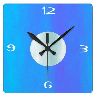 Azul/aguamarina/reloj de pared simplista de piedra reloj cuadrado