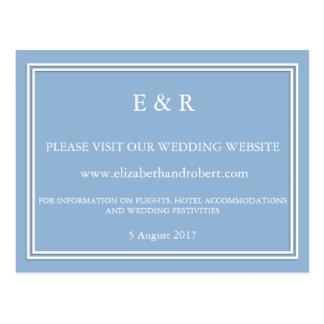 Azul airoso con el detalle blanco del boda postales
