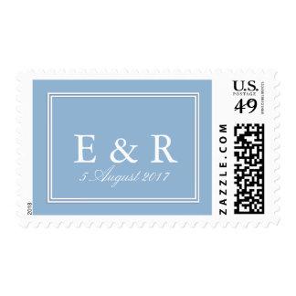 Azul airoso con el detalle blanco del boda timbres postales