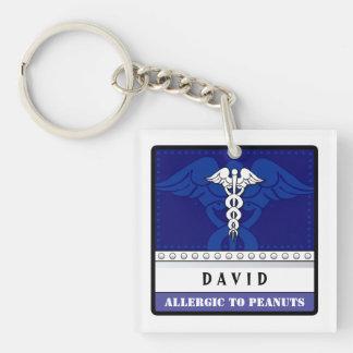 Azul alerta médico del llavero - personalizar
