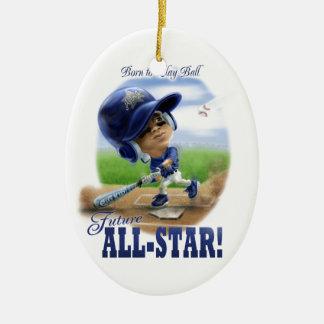 Azul All-star futuro Adorno Navideño Ovalado De Cerámica