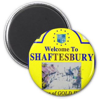 Azul amarillo de Shaftesbury Imán Redondo 5 Cm